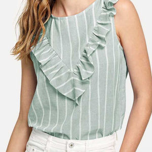 NWOT Ruffle Detail Striped Shell Top